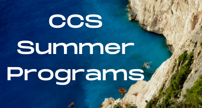 CCS Summer Programing text with beach background