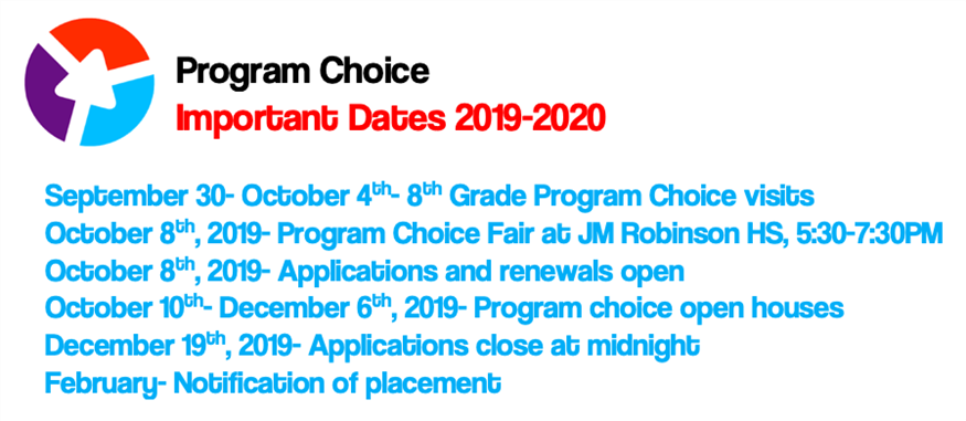 Program Choice Important Dates