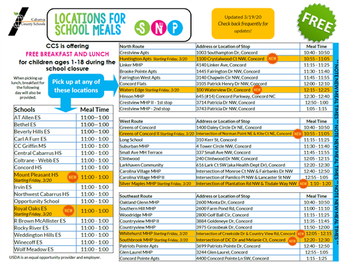 locations for school meals
