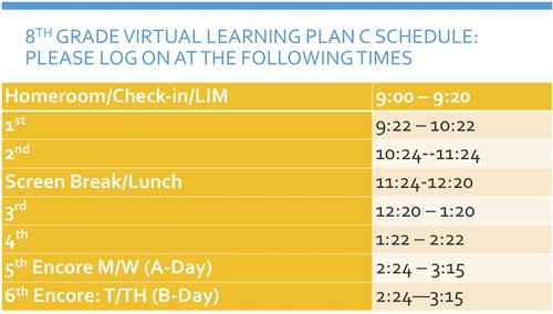 8th Grade Virtual Learning Schedule