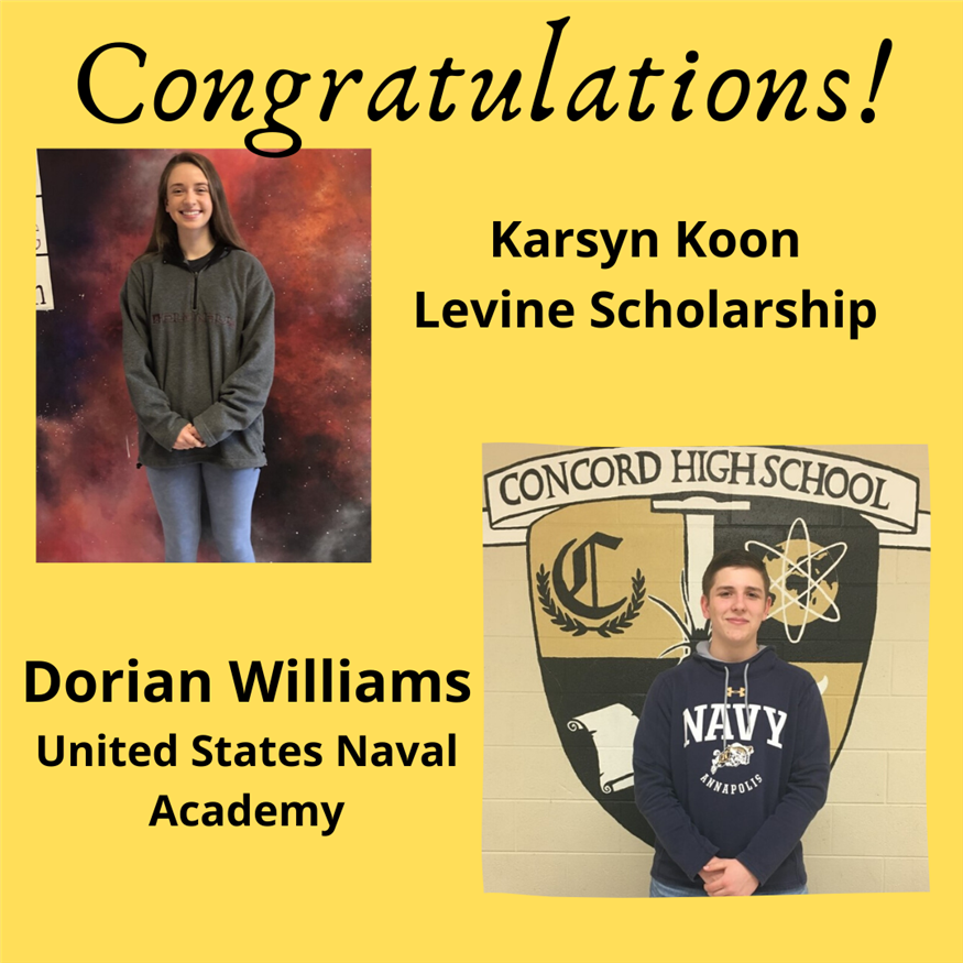 Congratulations to Karsyn Koon - Levine Scholarship and Dorian Williams - United States Naval Academy for these outstanding scholarship honors!
