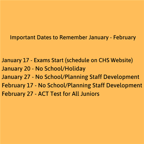 Important Dates to Remember January - February 2020