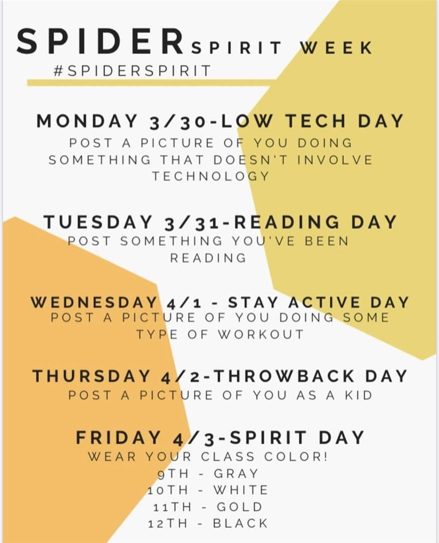 Spirit Week - March 30 Week!!   Post a Pic and tag #spiderspirit