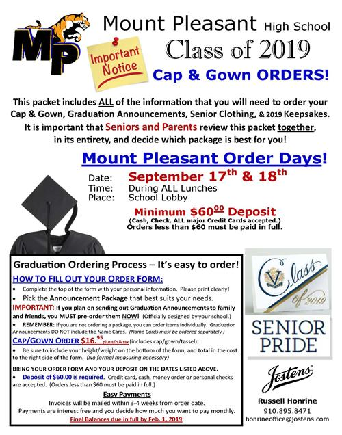 Jostens is coming! Click on link for MPHS Senior Cap and Gown Order ...