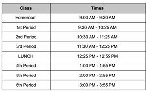 Daily Student Schedule