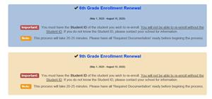 Grade 6 and 9 enrollment renewal