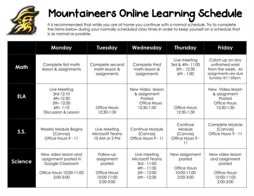 Mountaineer Schedule