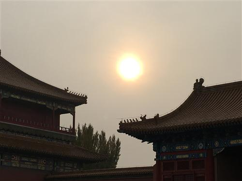 sun through the smog